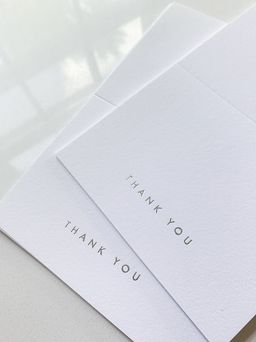 Silver Foil Pressed Thank You Cards / Set of 10