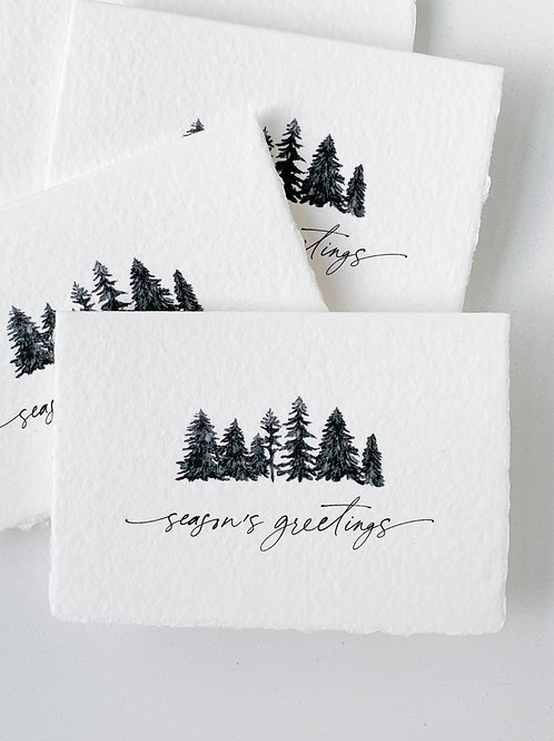 Handmade Paper Holiday Cards - White