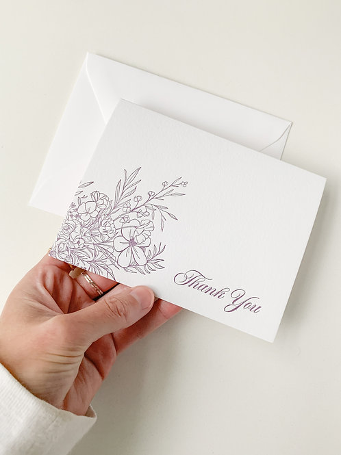 Floral Letterpress Thank You Cards / Set of 10