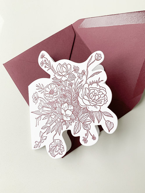 Burgundy Floral Greeting Card - Blank