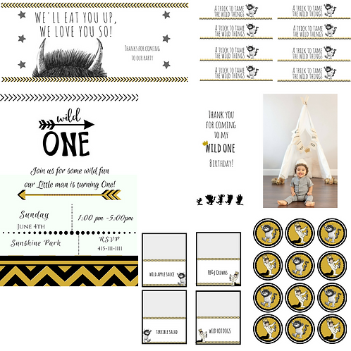 Party Printables inspired by Where the wild things are