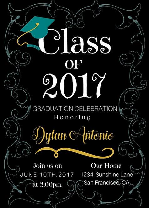 Printable Teal and Black Graduation Invitation