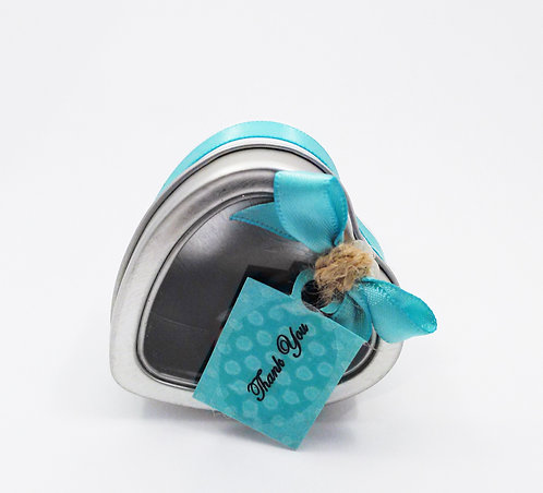 Tiffany Blue Tin Heart Shaped Favors