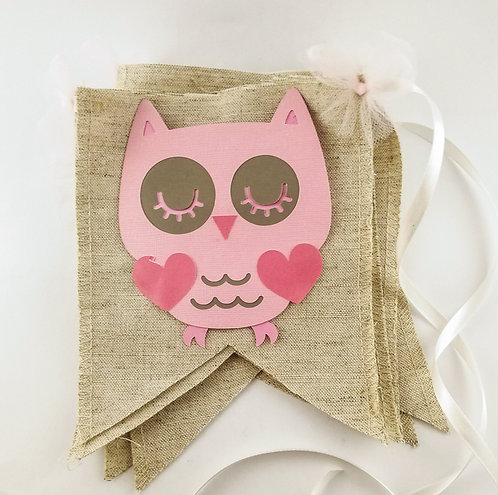 Swallow Tail Burlap Baby Shower Banner with Pink Owl