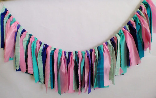 Precious Pink, Teal and Purple theme fabric garland banner