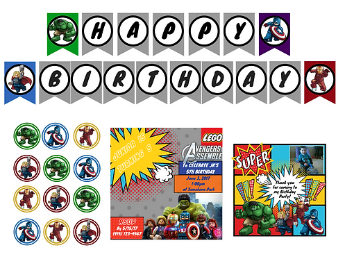 Printable Lego Avengers Party Decoration Package