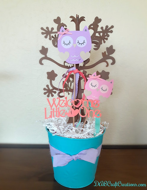 Purple and Pink Owl Handmade Centerpiece