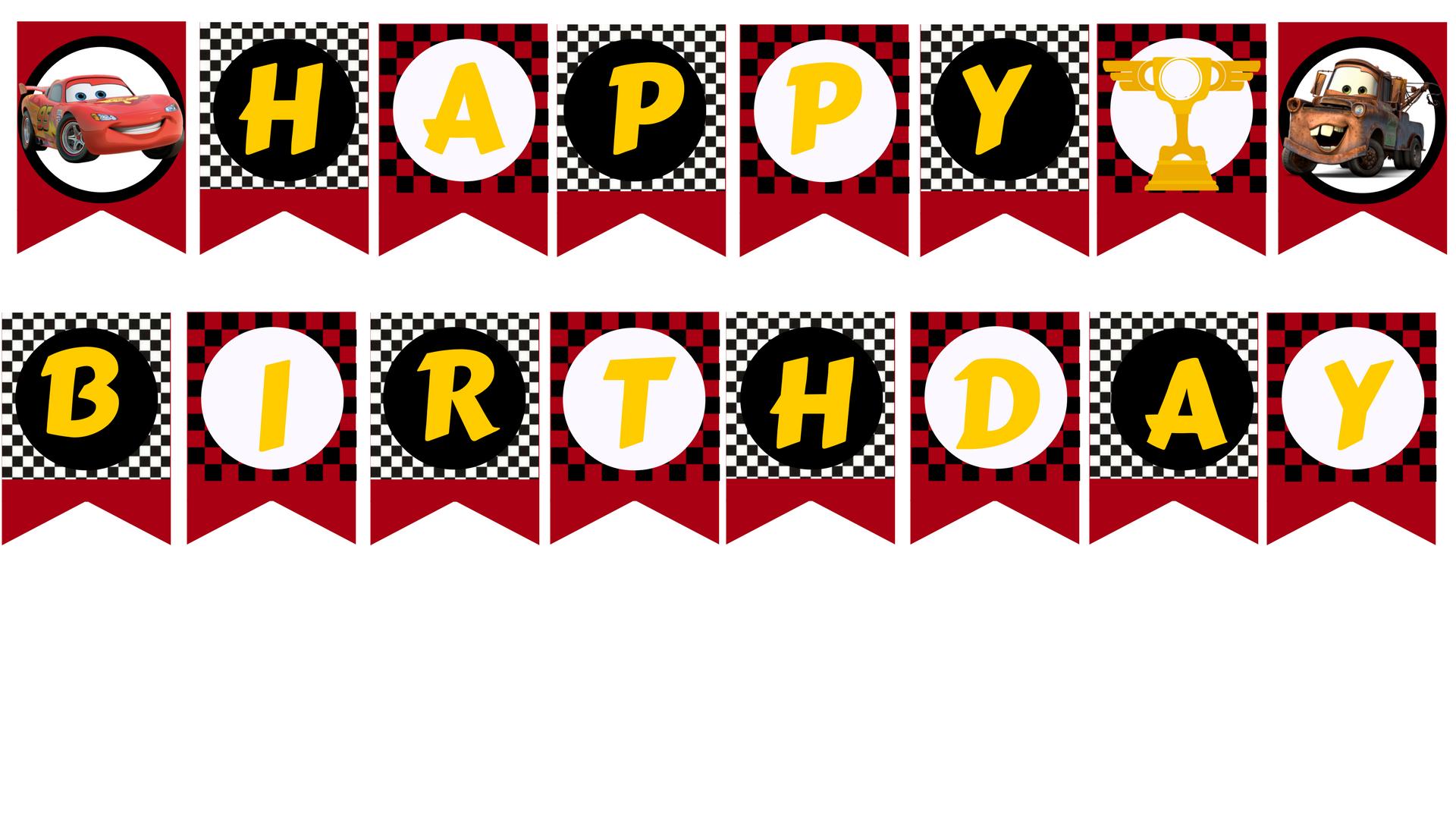 photo regarding Happy Birthday Banner Printable Pdf named Disney Automobiles motivated Printable Banner