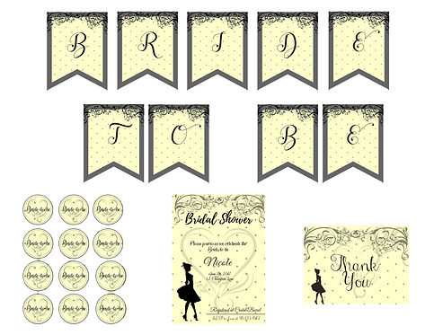 French Rustic Theme Bridal Shower Printable Package