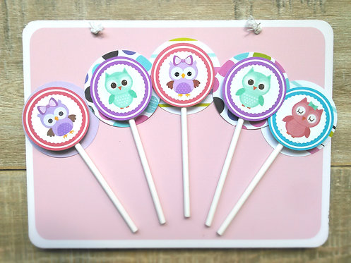 Pink and Purple Owl cupcake toppers