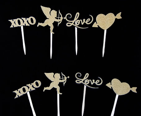 Glitter Cardstock Cupid, Love, Hearts, and XOXO toppers (12 Count)
