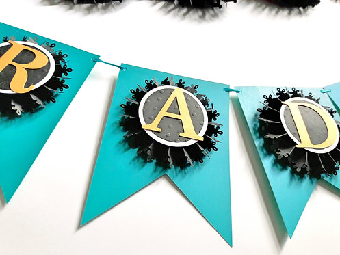Teal banner with Mini Black and Gold Rosette
