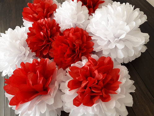 Red and White Tissue Poms