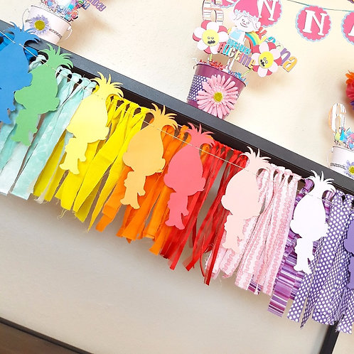 Rainbow fabric garland