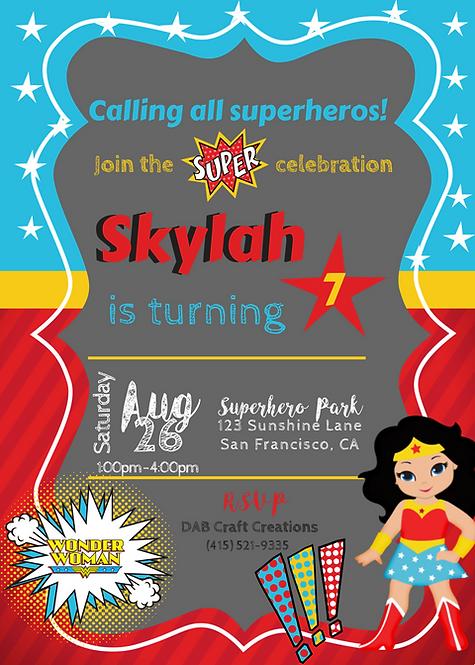 Wonder Woman Inspired Invitation