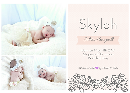 Pink and White Birth Announcement