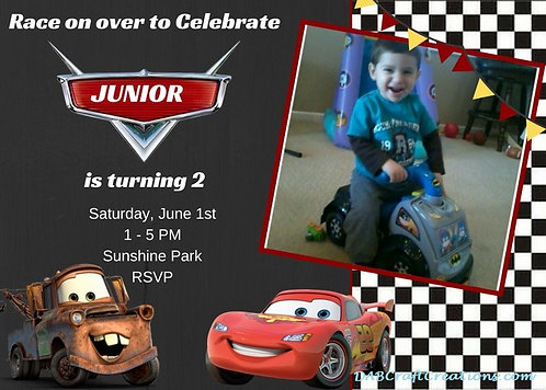 Printable Cars Inspired Invitation in High Resolution