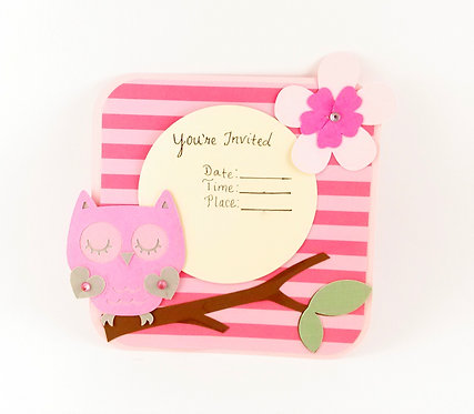 Adorable Pink Owl Invitations