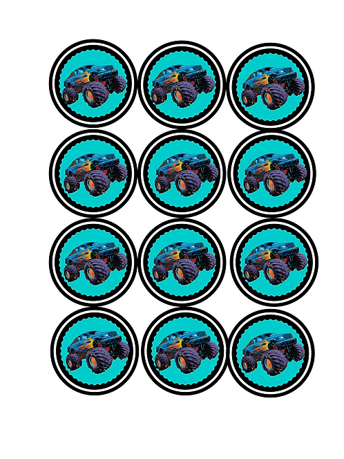 Monster Truck Printable Cupcake Toppers