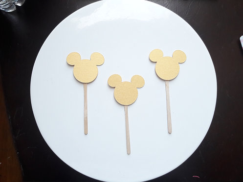 Gold Mickey Mouse Cupcake Toppers
