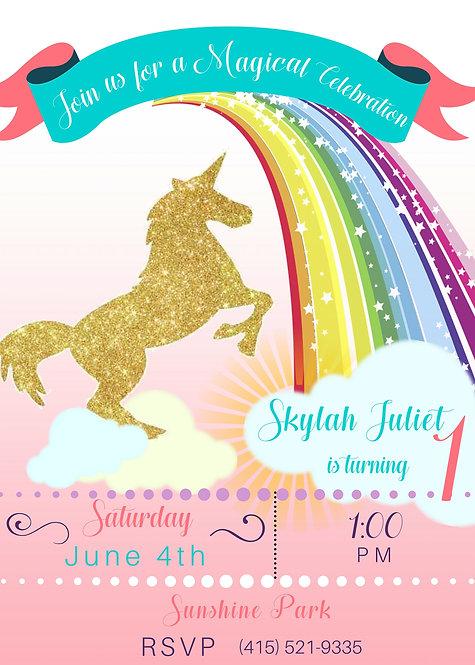 Unicorn Rainbow Invitation