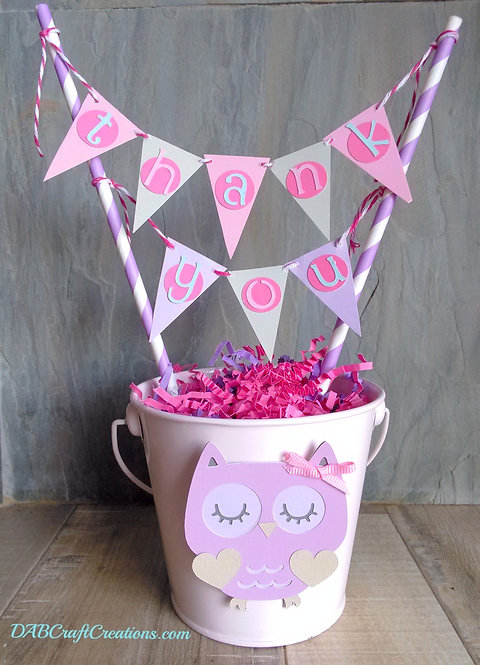 Pink Owl Themed centerpiece with mini banner