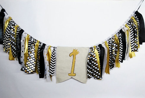 Elegant Gold and Black themed Fabric garland banner
