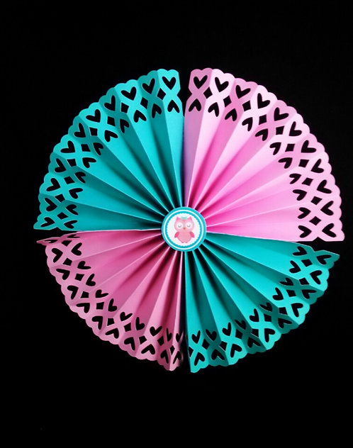 Pink and teal Owl Paper Rosettes