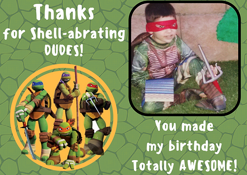 Printable Ninja Turtle Inspired Thank you card