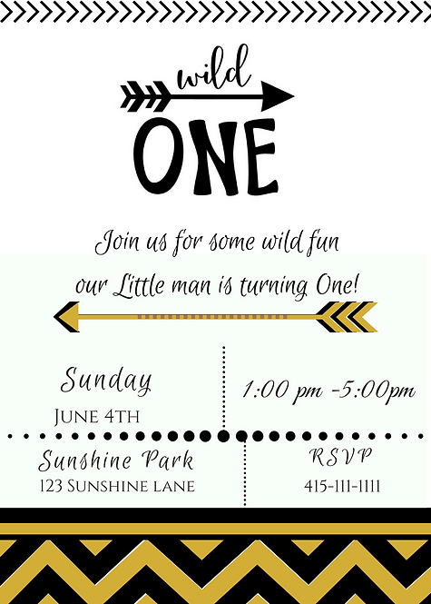 Printable Wild One theme invitation in High Resolution