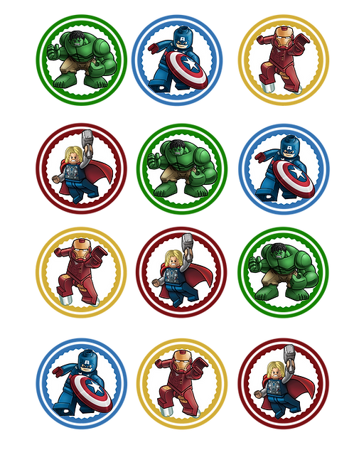 """Printable """"Lego Avengers"""" cupcake toppers"""
