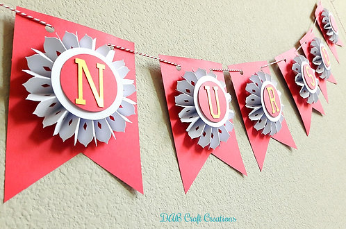 Red banner with Mini White and Gold Rosette