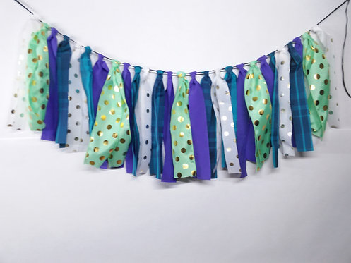 Purple and Blue Fabric Garland
