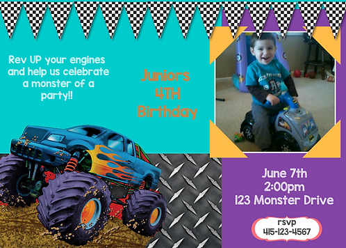 Monster Truck Printable Invitation