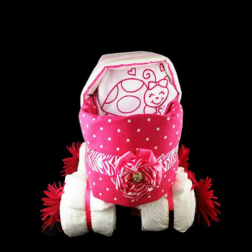 Pink Baby Diaper Carriage (Cake)