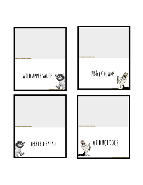 """Printable """"Where the wild things are"""" inspired table tents"""