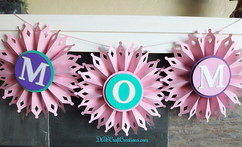Pink and Teal Rosette Banner