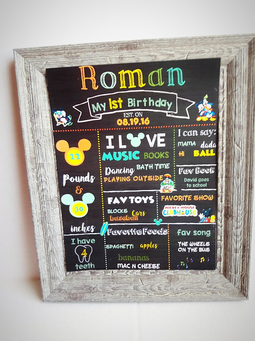 """""""Mickey Mouse"""" theme chalkboard sign"""