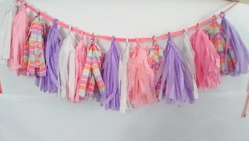 Tissue paper Garland banner Pink and Purple Theme