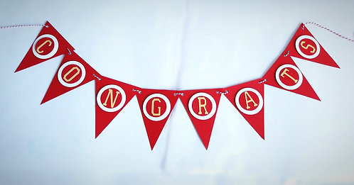 """Red and White """"Congrats"""" Banner"""