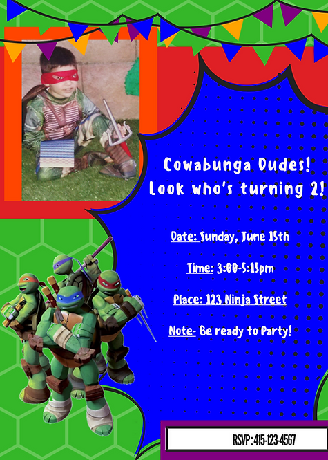 Printable Ninja Turtle Party Invitation in High Resolution