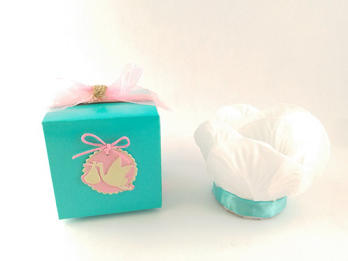 Pink and Tiffany Blue Stork Party Favors