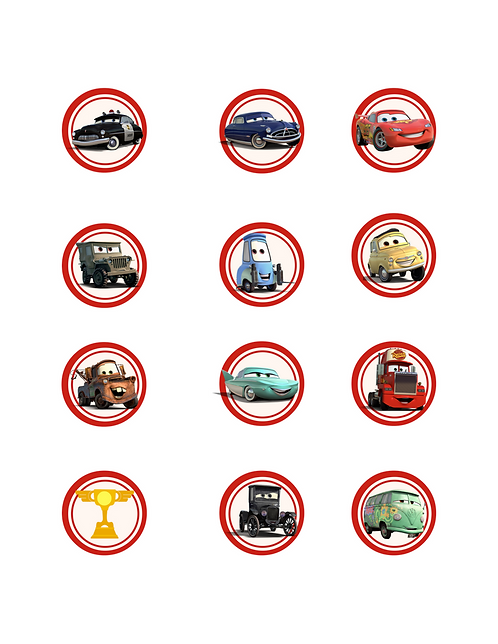 Disney Cars Inspired printable Cupcake Toppers