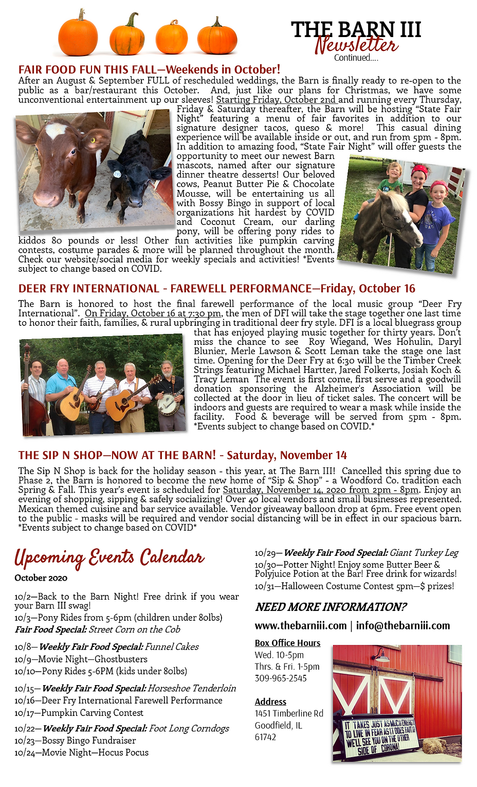 2020 Season Update Newsletter PAGE 2 UPD