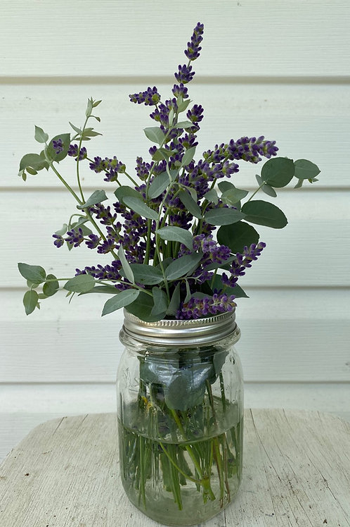 Lavender and eucalyptus Mason Jar Bouquets
