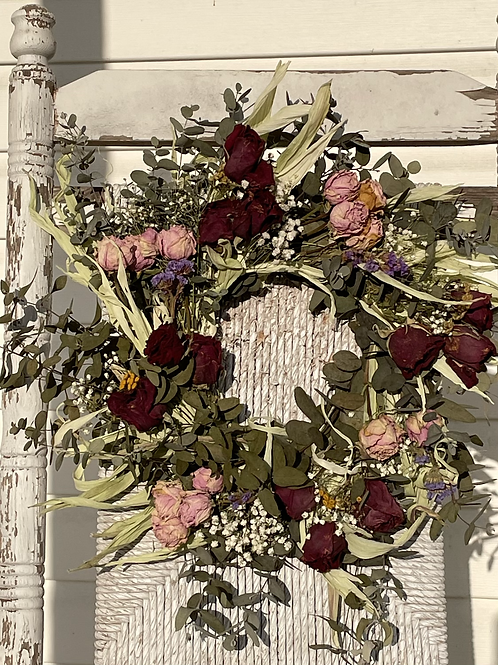 Pink and red roses dried wreath