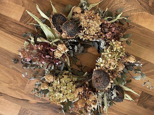 Dried sunflower and hydrangea Floral wreath