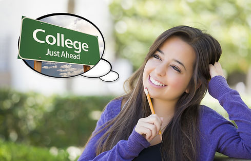 Pensive Young Woman with Thought Bubble of College Just Ahead Green Road Sign._edited.jpg