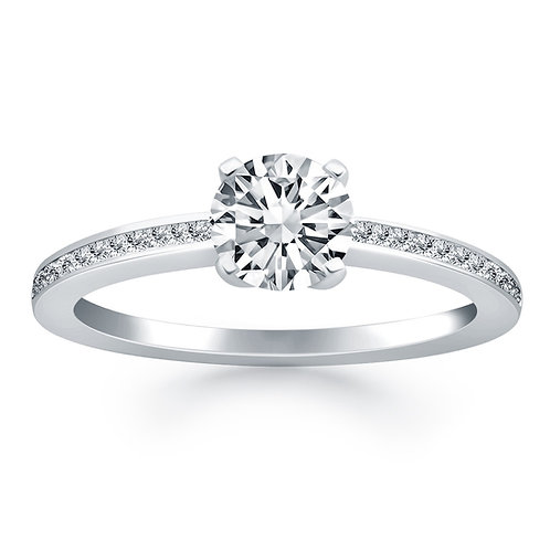 14k White Gold Classic Pave Diamond Band Engagement Ring