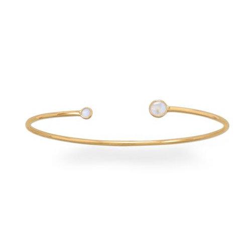 14 Karat Gold Plated Moonstone Open Cuff Bracelet